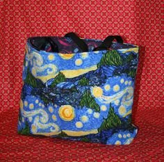 Van Gogh Starry Night/Doctor Who Tardis Tote Bag! Perfect for gifts, shopping, storage or just as a fashion accessory. Earth happy!  The Van Gogh Starry Night tote bag is made from cotton blend fabric lined with a Doctor Who Tardis pattern on dark blue background fleece fabric. In between the layers is fusible fleece for extra support and protection. The straps are made from black poly webbing. The bag is reversible giving you added variety. That way you get two designs for the price of ...