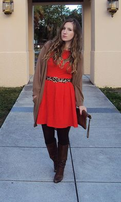 red dress, leopard belt, tights with boots, and slouchy cardigan