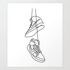 Sneakers Drawing in One Line Art Print by catbydes Minimal Drawings, Simple Line Drawings, Art Drawings, Nike Drawings, Line Drawing Art, Shoe Drawing, Drawing Ideas, Shoe Tattoos, Line Art Tattoos