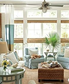 Beach House Living Room- aqua and natural textures  love the fan and the three tone fabric on curtains