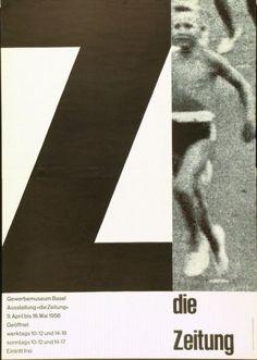 Poster for an exhibition »die Zeitung - Gewerbemuseum Basel«. Design: Emil Ruder, 1958