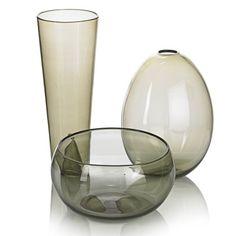 Nuutajarvi three smoky glass vessels by Kaj Franck Finland Glass Vessel, Glass Ceramic, Glass Art, Ceramic Tableware, Mid Century Design, Glass Design, Earthenware, Scandinavian Design, Oeuvre D'art
