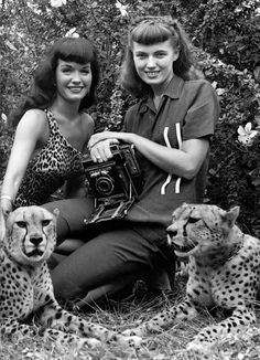 Self-portrait of the artist with fellow pinup model Bettie Page, Florida, United States, photograph by Bunny Yeager.