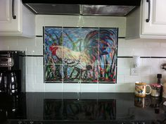 Colorful rooster kitchen backsplash would look right at home in a timber frame!