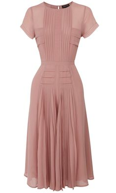 [Great detailing.  I love the pleats and tucks.]  Warehouse Blush Pink Dress, £70
