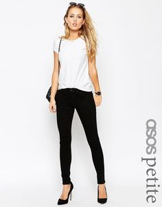 Image 1 of ASOS PETITE 'Sculpt Me' Premium Jeans in Clean Black