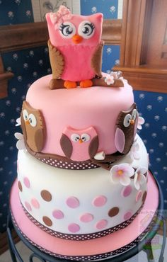 Owl Baby Shower Cake - I was given a picture of this design and I had no idea who the original cake decorator was. I searched and search and today I finally found who it is!:::::Original design by ryansmom319:::::     I only did a few tiny changes and added the gumpaste topper. Cake is a butter vanilla/fudge marble cake with chocolate buttercream.