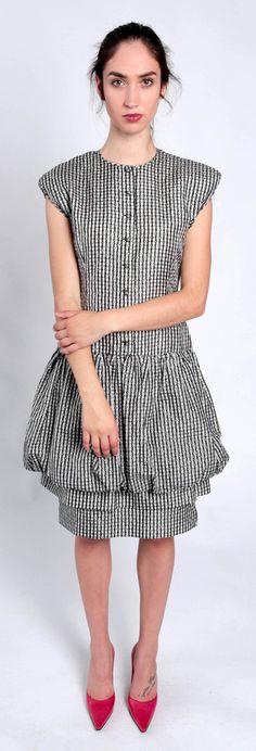 Gianni Versace Gingham Drop Waist sparkle dress Size 42 | LAB Consignment