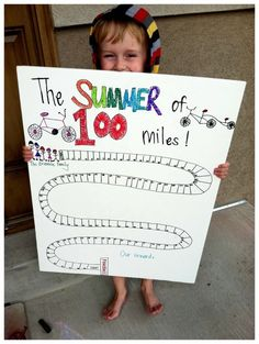 "would be fun to do with walking/biking the section this summer @Chelsea Isaacson...  Another pinner: ""summer of 100 miles biked together"" - love this way of getting your little tyke active with you! Will have to hold off on my fam until we are a little older, but it's a fantastic idea! Hmm... could maybe make a ""walk around the neighborhood"" chart... now my wheels are spinning..."