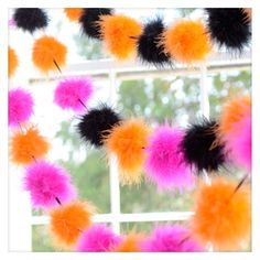 Spice up your home during Halloween by using this adorable puff garland!