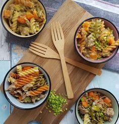 One pot pasta - pasta/bearnaise. One Pot Pasta, Bacon, Recipies, Spaghetti, Curry, Salad, Ethnic Recipes, Dip, Kitchen