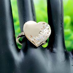 Heart Shape Flower Design Ring Rose Gold Heart Shape Ring   Etsy
