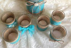 Deep Turquoise blue lace and natural burlap covered by PinKyJubb