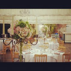 Northbrook Park. Candelabras with Roses and Hydrangeas
