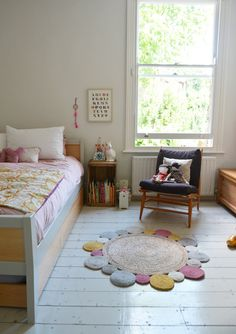 bright light and a sweet rug in a child's room.