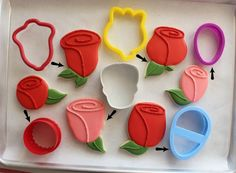 Rose cookies from common cookie cutters! Rose Cookies, Flower Cookies, Cut Out Cookies, Iced Cookies, Cupcake Cookies, Sugar Cookies, Cupcakes, Cookie Favors, Baby Cookies