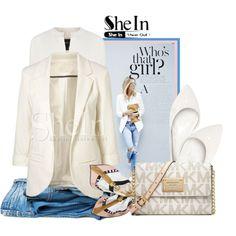 SheIn-White Blazer by samketina on Polyvore featuring Derek Lam, Charlotte Russe, Michael Kors and Henri Bendel