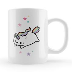 Caticorn Mug, kawaii cute caticorn gift, cat unicorn unique present, cute cat character birthday gift, friends present ideas UK