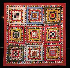Quilt Sampler with Yellow and Red Calico by Unknown Piecemaker, quilted by Cathy Colvin. Pieced mid 1800s; quilted in 2003.