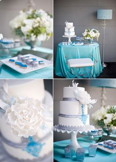 wedding inspiration blue silver gray- I know not the exact colors, but you could do something similar