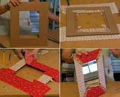Ttransforme uma caixa de papelão em uma moldura para espelho.  http://tvg.globo.com/programas/mais-voce/O-programa/noticia/2012/08/aprenda-transformar-uma-caixa-de-papelao-em-uma-moldura-para-espelho.html