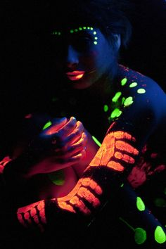 Glow in the dark make up and body paint...festival friendly #glowinthedark #neon #makeup