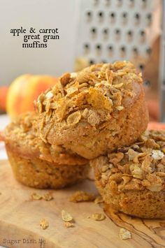 Apple and Carrot Great Grain Muffins - hearty and whole grain with some cereal crunch. This recipe reminds me of morning glory muffins... but better!