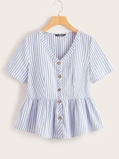 Shop Button Front Striped Peplum Top at ROMWE, discover more fashion styles online. Diy Clothes Tops, Kinds Of Clothes, Casual Outfits, Cute Outfits, Fashion Outfits, Girly Outfits, Dressy Tops, Striped Fabrics, Types Of Sleeves
