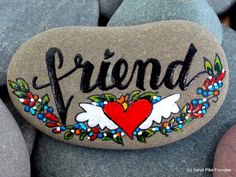friend / painted rocks / painted stones / friendship gifts / best friends / gifts for friends / BFF / paperweights / rock art / tiny art by LoveFromCapeCod on Etsy