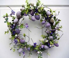 purple and white easter egg wreath. *(this is BY FAR one of the prettiest & most tastefully done wreathes I've seen.HIGH on my favorites list! Easter Wreaths, Holiday Wreaths, Hoppy Easter, Easter Eggs, Summer Wreath, Spring Crafts, Easter Crafts, Easter Ideas, Floral Wreath