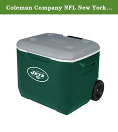 Coleman Company NFL New York Jets Performance Cooler, 60 quart, Green/Gray. Take your spirit of the team with you whenever a cooler is needed. The new, stylish convenience of a Coleman 60 Quart Wheeled Cooler with you to the party-at the tailgate, BBQ or campsite. While your friends revel in the sleek new look, you'll enjoy the added improvements that better fit your lifestyle. The redesigned 60-quart cooler is tall enough to hold 2-liter bottles upright and large enough to hold up to 95...