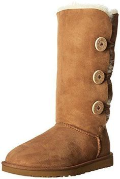 UGG Australia Women's Bailey Button Triplet Sheepskin Fashion Boot Chestnut 6 M US