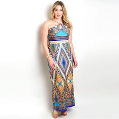Shop the Trends Women's Plus Size Sleeveless Maxi Dress with Crisscross Neckline