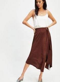 Chocolate Jacquard Midi Skirt