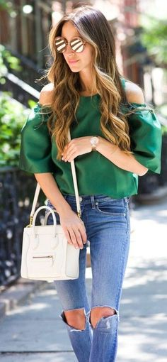 #summer #trending #fashion | Green Silk Top + Denim