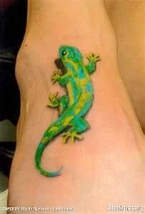 Gecko tattoo! I like the shadowing to make it look real! | tattoos picture gecko tattoo
