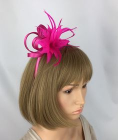 Purple Mini hat 5cm Net /& Feather Fascinator Hair Clip Slide with rose Flower