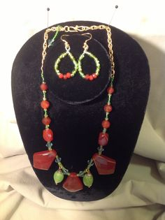 """""""Agate"""" Red Agate's 16-18 1/2"""", with matching earrings, a natural beauty!  Original by: gracebeadeddesign@gmail.com"""