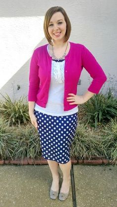 Pretty in Pink. Modern Modesty. Navy polka dot skirt and hot pink cardigan.