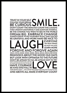 Smile Laugh Love, posters in the group Posters & Prints / Typography & quotes at Desenio AB Typography Quotes, Typography Poster, Citation Tumblr, Family Quotes, Life Quotes, Quotes Quotes, Qoutes, Desenio Posters, Mode Poster