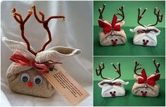 """Cute Reindeer made from a bar of soap wrapped with a washcloth, pipe cleaner antlers, eyes, and nose. Tag reads: """"Everyone loves this time of year, All the laughter and good cheer, A season that is full of hope, And a reindeer that's made of cloth and soap!"""""""