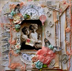 shabby chic scrapbooking page, layout