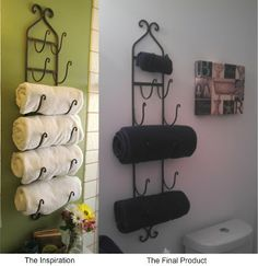 Pinterest Wall Decor | So when I saw a pin on pinterest where you can store towels on a wine ...