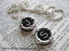 Typewriter key jewelery. My first initial & my husband's. Nice.
