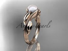 14kt rose gold pearl leaf and vine engagement ring AP273 by AnjaysPearls on Etsy https://www.etsy.com/listing/197154734/14kt-rose-gold-pearl-leaf-and-vine