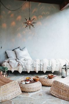 Bohemian Daybed | Moroccan Wedding Blanket | Floor Poufs
