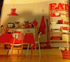 Kitchen, dots, color, wood, white