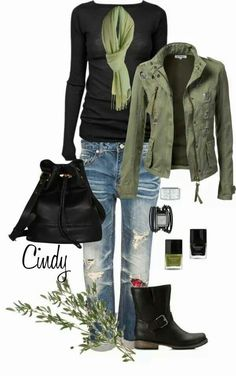 Olive casual. Have jeans, boots, purse and long sleeved T. Have an olive green fly away vest instead of jacket