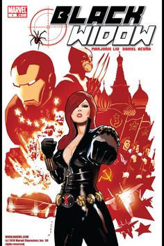 Black Widow (Natasha Romanoff) is a supervillainess turned superheroine in the Marvel Universe. A former Russian spy, Natasha Romanoff (AKA Black Widow) defected and began working with the Avengers and then on her own as a superhero. Natasha Romanoff, Stan Lee, Cultura Pop, Iron Man, Super Heroine, Natalia Romanova, Black Widow Natasha, A Comics, Comic Covers
