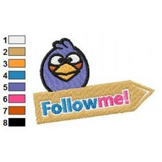 Blue Angry Bird Twitter Embroidery Design